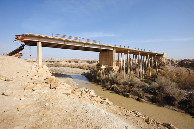 Destroyed bridge over the Jordan river